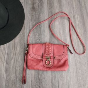 Chaps Burnt Orange Faux Leather Small Crossbody